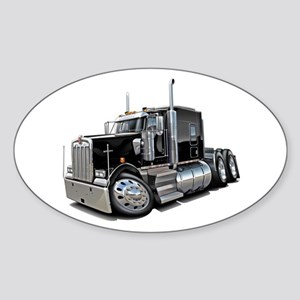 Kenworth W900 Black Truck Sticker (Oval)